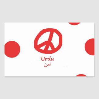 Sticker Rectangulaire Langue d'Urdu et conception de symbole de paix
