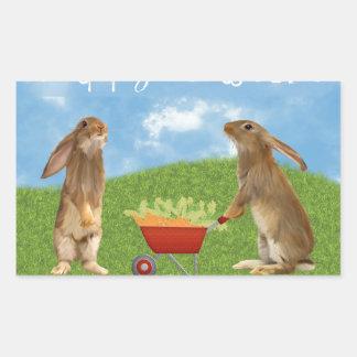 Sticker Rectangulaire Lapin désireux avec la brouette des carottes