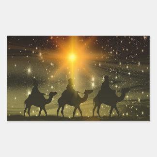 Sticker Rectangulaire L'autocollant religieux de Noël de trois sages