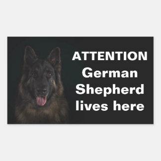 Sticker Rectangulaire Le berger allemand d'attention vit ici