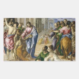 Sticker Rectangulaire Le Christ guérissant les aveugles