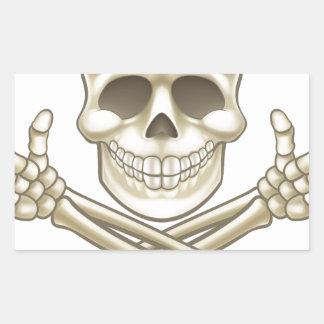 Sticker Rectangulaire Le crâne de bande dessinée et le pirate d'os