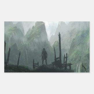Sticker Rectangulaire Le dernier guerrier du clan de montagne