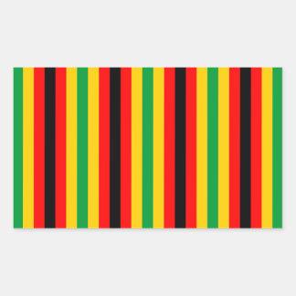 Sticker Rectangulaire Le drapeau du Zimbabwe barre des lignes couleurs