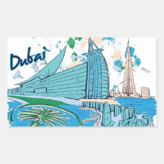 Sticker Rectangulaire le Dubaï vintage nous conception d'e