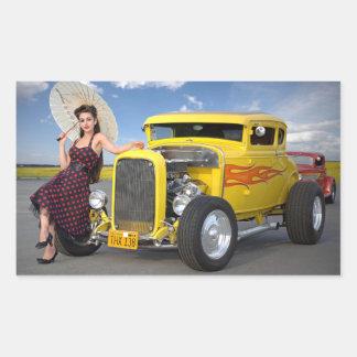 Sticker Rectangulaire Le hot rod flambe le Pin vintage de voiture de