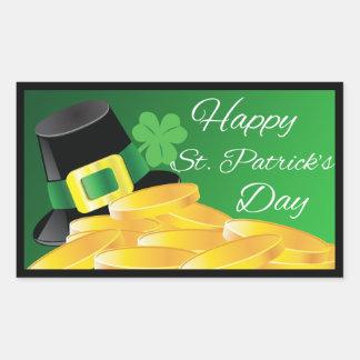Sticker Rectangulaire Le jour de St Patrick de pièces d'or de casquette