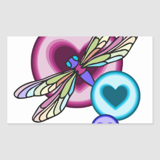 Sticker Rectangulaire Le pastel a coloré la libellule avec rose bleu et