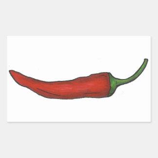 Sticker Rectangulaire Le poivre de piment rouge chaud Chili épicé poivre