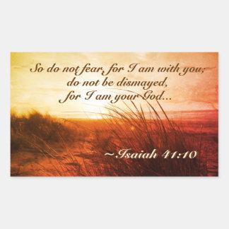 Sticker Rectangulaire Le vers de bible de 41:10 d'Isaïe ne craignent pas