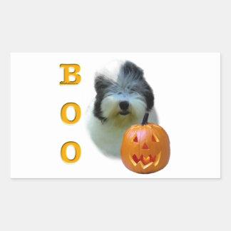 Sticker Rectangulaire Le vieux chien de berger anglais Halloween huent