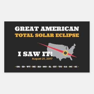 Sticker Rectangulaire L'éclipse solaire totale - 2017 - je l'ai vue !