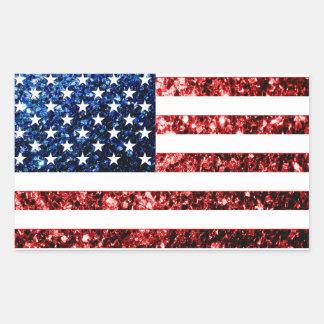 Sticker Rectangulaire Les Etats-Unis marquent le rouge et le bleu