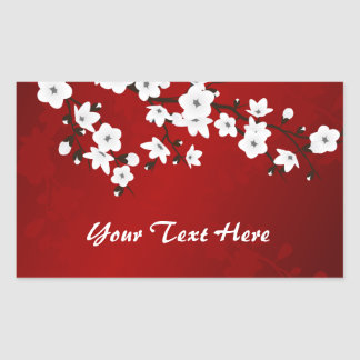 Sticker Rectangulaire Les fleurs de cerisier noires et blanches rouges