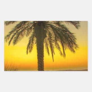 Sticker Rectangulaire Lever de soleil de palmier