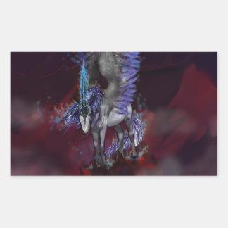 Sticker Rectangulaire Licorne bleue de blanc de poney de cheval à ailes
