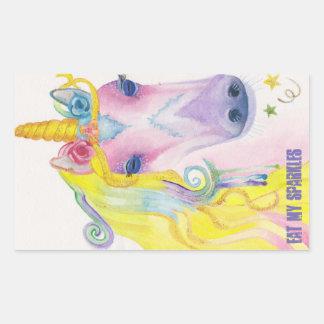 Sticker Rectangulaire Licorne : Mangez mes étincelles