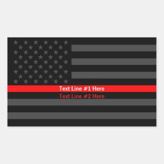 Sticker Rectangulaire Ligne rouge mince de drapeau américain symbolique