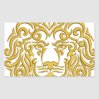 Sticker Rectangulaire lion d'or dans la couronne