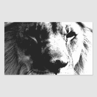 Sticker Rectangulaire Lion noir et blanc