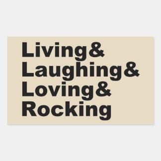 Sticker Rectangulaire Living&Laughing&Loving&ROCKING (noir)