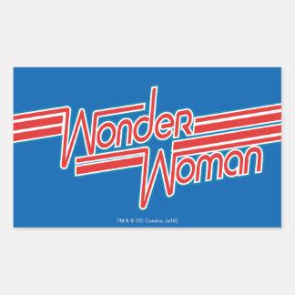 Sticker Rectangulaire Logo de rayure rouge et bleue de femme de