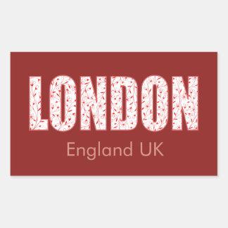 Sticker Rectangulaire Londres (motif de fleur de fierté de Londres,