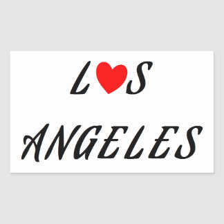 Sticker Rectangulaire Los Angeles coeur rouge