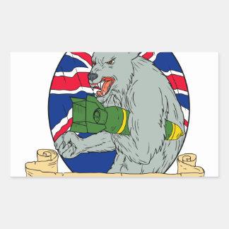 Sticker Rectangulaire Loup gris tenant le dessin d'Union Jack de bombe