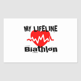 Sticker Rectangulaire Ma ligne de vie biathlon folâtre des conceptions