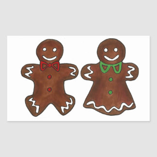 Sticker Rectangulaire Madame Woman Christmas Xmas Cookie de bonhomme en