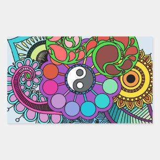 Sticker Rectangulaire Mandala bleu de la terre
