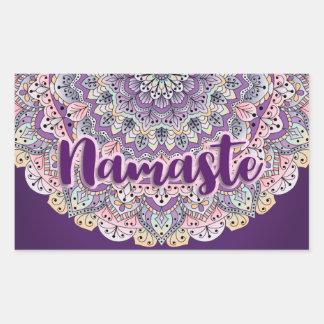 Sticker Rectangulaire Mandala floral rose de Namaste et pourpre mignon