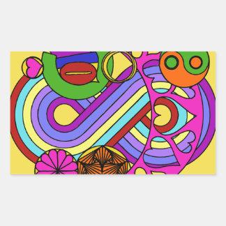 Sticker Rectangulaire Mandala jaune d'amour