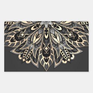 Sticker Rectangulaire Mandala noir et brun géométrique tribal