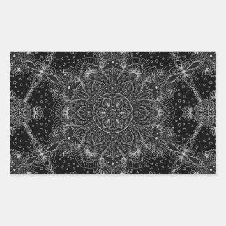 Sticker Rectangulaire Mandala oriental de zen noir et blanc