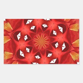 Sticker Rectangulaire Mandala rouge de camélia