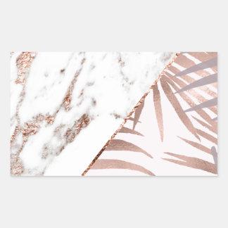 Sticker Rectangulaire Marbre rose d'or et fougères tropicales