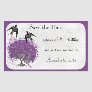 Sticker Rectangulaire Mariages d'arbre de feuille de Purple Heart