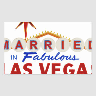 Sticker Rectangulaire Marié à Las Vegas fabuleux, enseigne au néon du