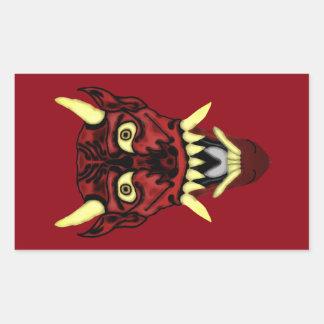 Sticker Rectangulaire masque de démon de hannya