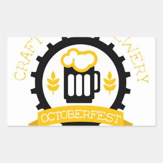 Sticker Rectangulaire Modèle de conception de logo de bière avec la