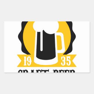 Sticker Rectangulaire Modèle de conception de logo de bière de métier