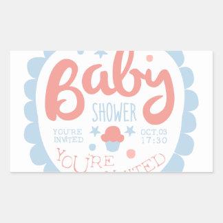 Sticker Rectangulaire Modèle de conception d'invitation de baby shower