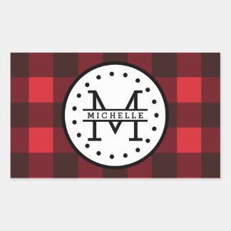 Sticker Rectangulaire Monogramme rouge de nom de bûcheron de plaid de