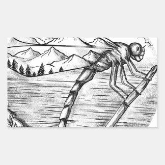 Sticker Rectangulaire Montagne de libellule à l'intérieur de tatouage