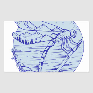 Sticker Rectangulaire Montagnes de libellule dans le dessin d'ailes