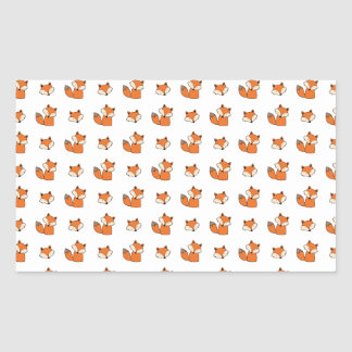 Sticker Rectangulaire motif de renards rouges