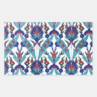 Sticker Rectangulaire Motif floral turc d'Iznik