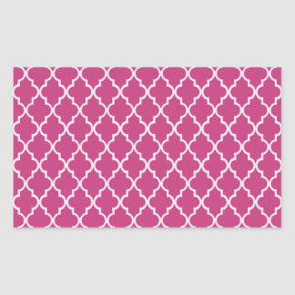 Sticker Rectangulaire Motif marocain magenta et blanc fuchsia de